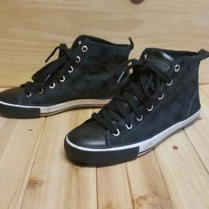 6.5 COACH SIGNATURE CANVAS SNEAKERS HIGH TOP NICE